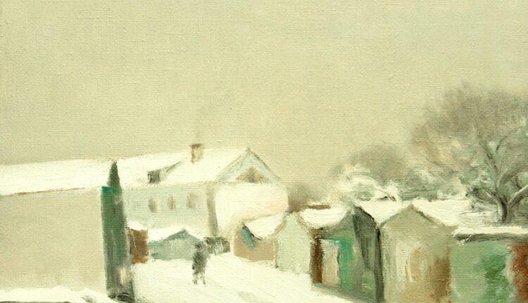 Мытищи.Пейзаж с гаражами.2009 х.,м.35х40 (40)