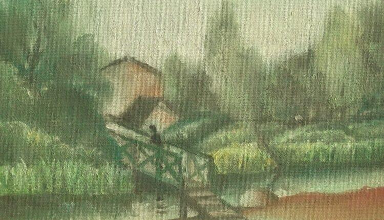 На р. Яузе в Мытищах.2005 холст на картоне,масло 19х24 (25) (1024×830)