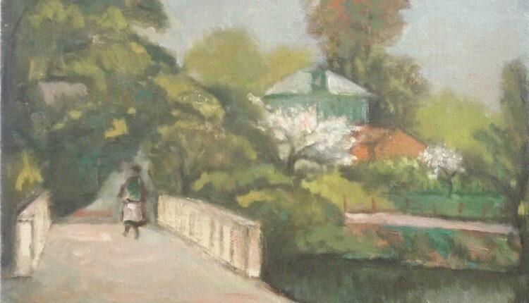 Весенний п-ж с мостом.2009 х.м.40х50
